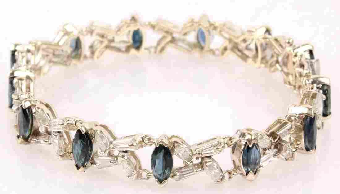 LADIES 14K WHITE GOLD DIAMOND SAPPHIRE BRACELET