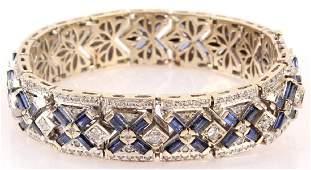 18K WHITE GOLD ART DECO SAPPHIRE DIAMOND BRACELET