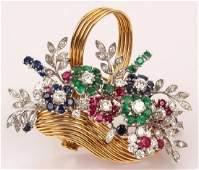 18K YELLOW GOLD DIAMOND EMERALD RUBY BASKET PIN
