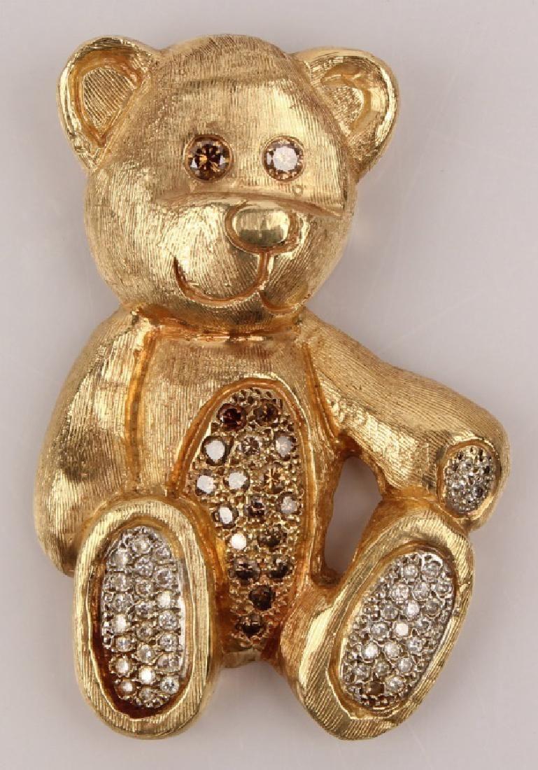 14K YELLOW GOLD DIAMOND TEDDY BEAR PENDANT