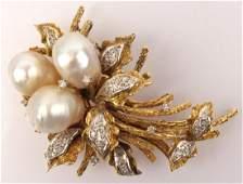 18K YELLOW GOLD PEARL & DIAMOND SPRAY BROOCH
