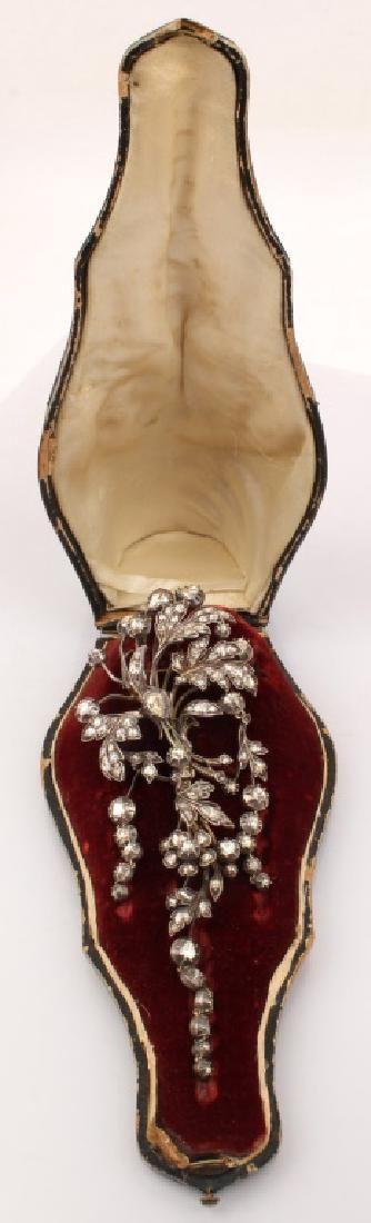 14K VICTORIAN DIAMOND EN PAMPILLE ANTIQUE BROOCH