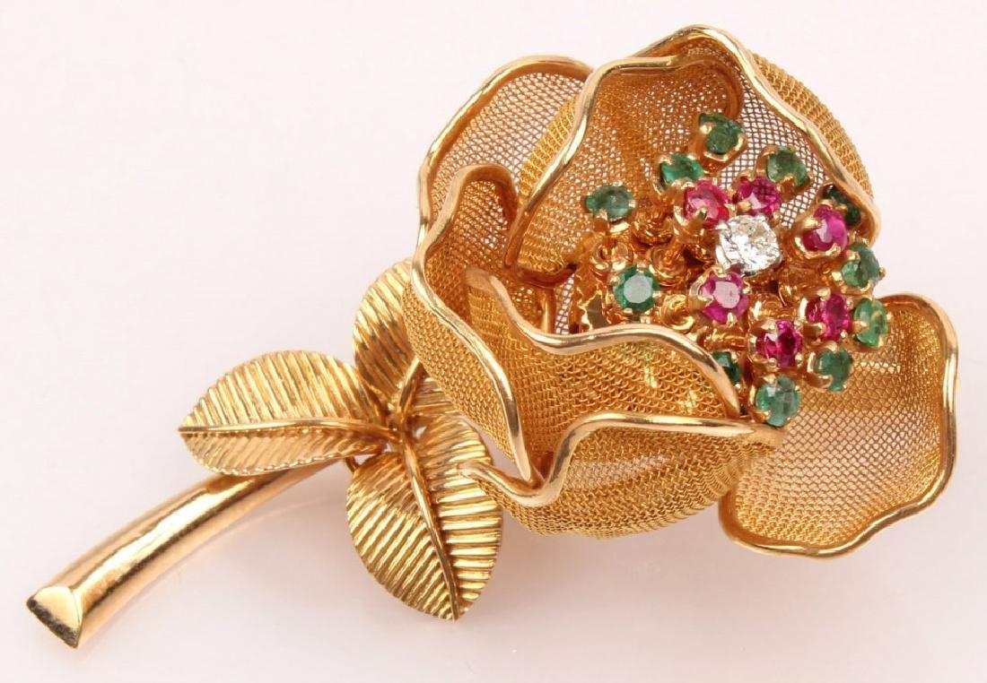 18K GOLD ROSE FLOWER WITH DIAMONDS RUBIES EMERALDS