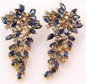14K YELLOW GOLD SAPPHIRE DIAMOND EARRINGS