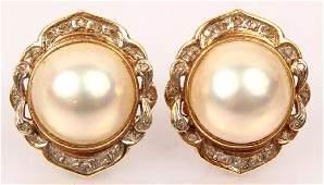 14K YELLOW GOLD DIAMOND MABE PEARL EARRINGS