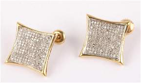LADIES 14K YELLOW GOLD PAVE DIAMOND EARRINGS