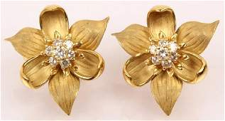 LADIES 18K YELLOW GOLD DIAMOND CLUSTER EARRINGS