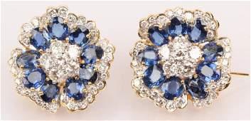 18K YELLOW GOLD SAPPHIRE DIAMOND EARRINGS