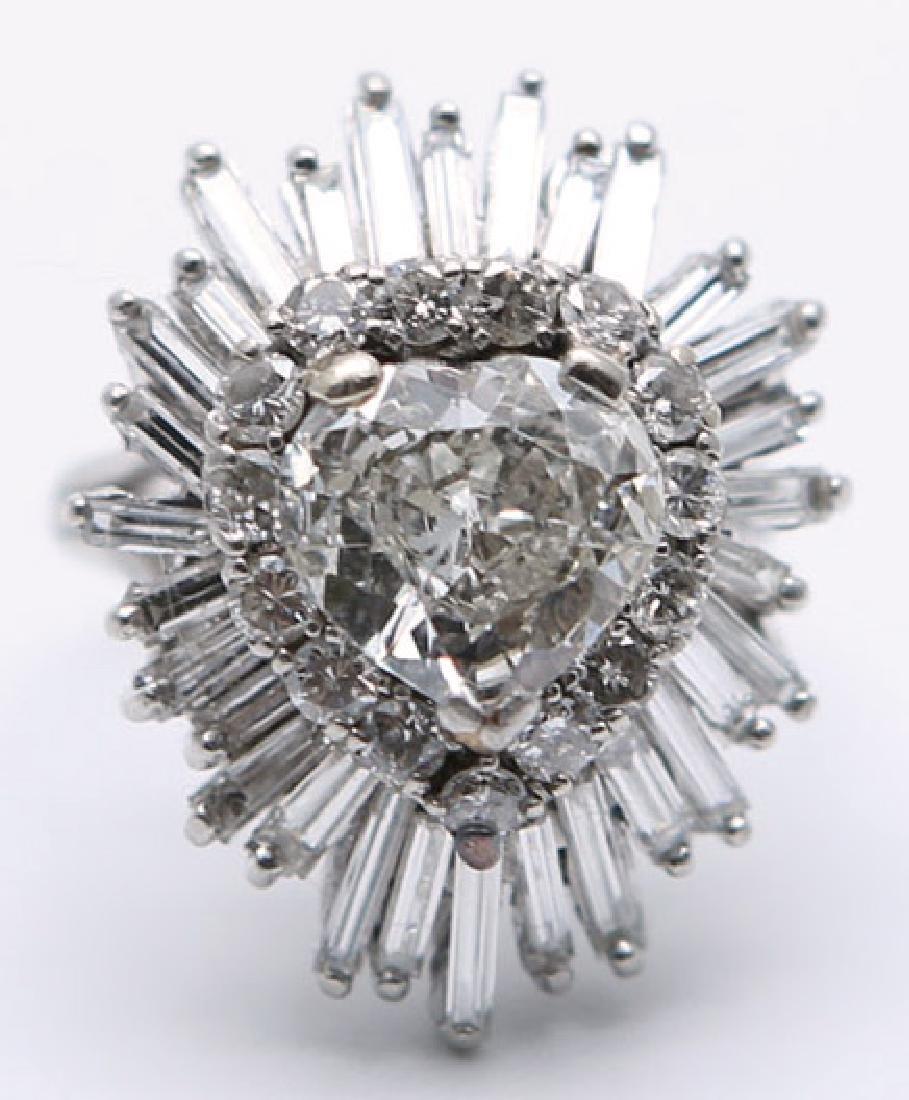 LADIES PLATINUM HEART SHAPE DIAMOND BALLERINA RING