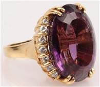 LADIES 18K YELLOW GOLD AMETHYST DIAMOND RING