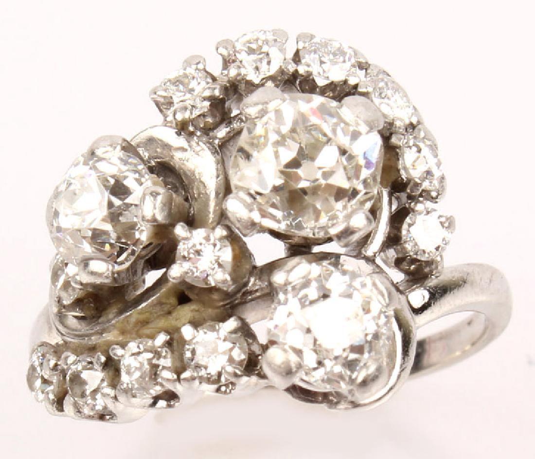 LADIES ANTIQUE PLATINUM DIAMOND SWIRL RING