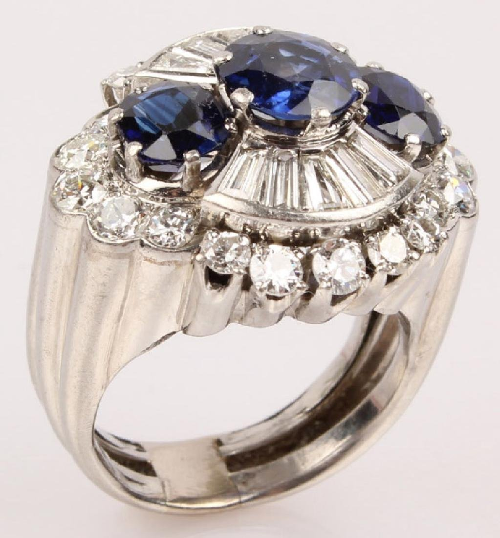 ANTIQUE PLATINUM DIAMOND SAPPHIRE RING