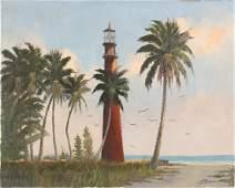 J. BARNHILL FLORIDA LIGHTHOUSE BEACH OIL ON CANVAS