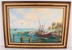 J. BARNHILL FL KEY WEST SHRIMP BOAT OIL ON CANVAS