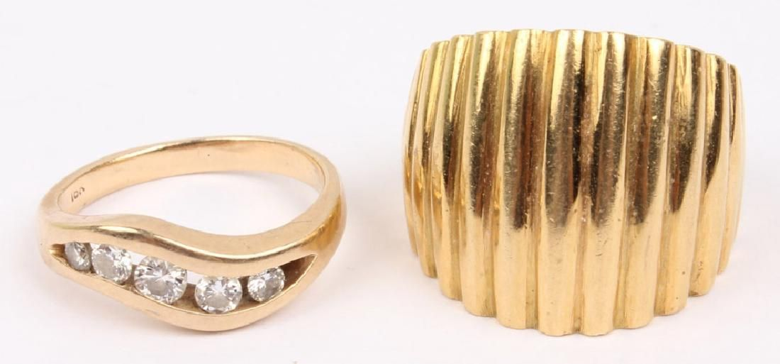 TWO 18K YELLOW GOLD FASHION RINGS