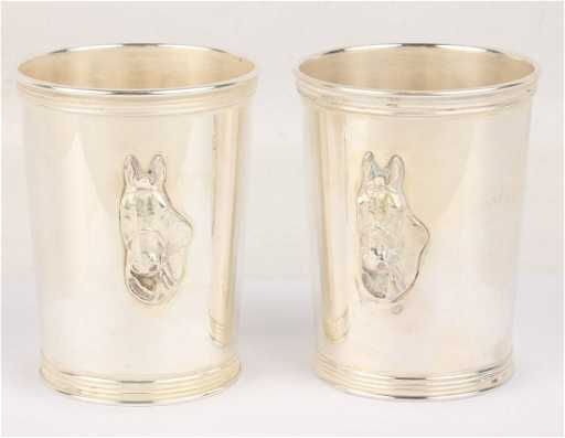 Trees Sterling Silver Pair Horse Mint Julep Cups