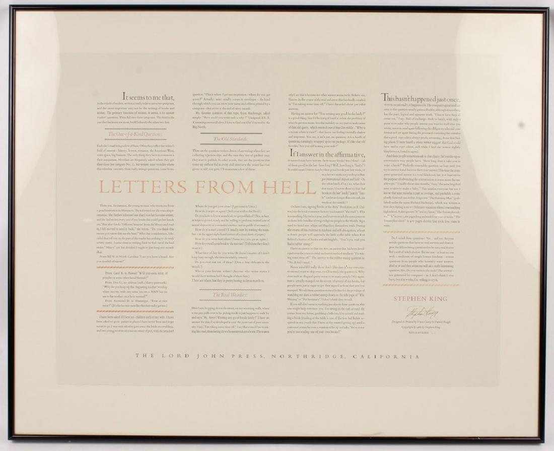 STEPHEN KING LETTERS FROM HELL PRINT FRAMED