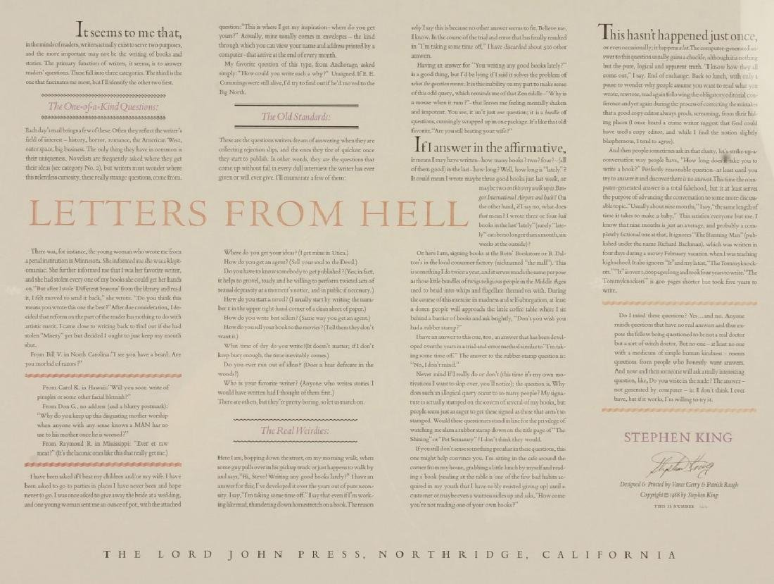 STEPHEN KING LETTERS FROM HELL PRINT FRAMED - 2