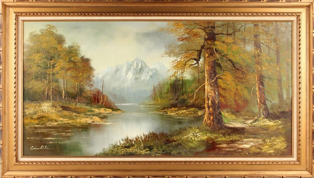 20TH C. UNKNOWN ARTIST AUTUMN STREAM OIL PAINTING