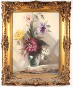 LARGE ROCCA FLORAL STILL LIFE OIL ON CANVAS