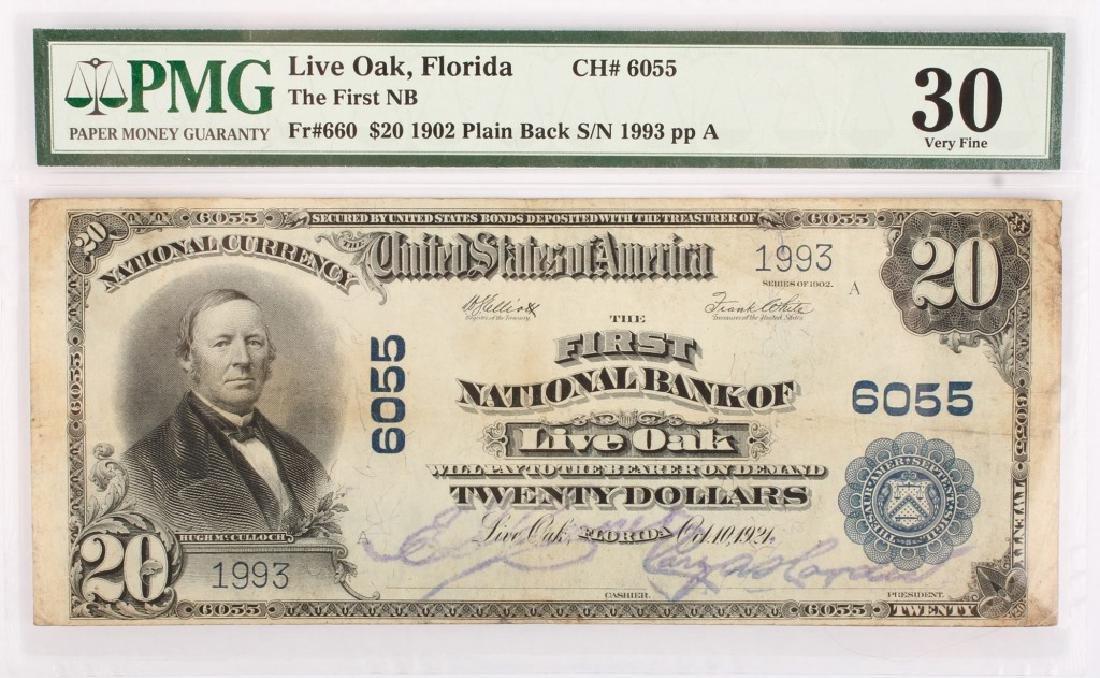 RARE $20.00 BLUE SEAL LIVE OAK NATIONAL BANK NOTE