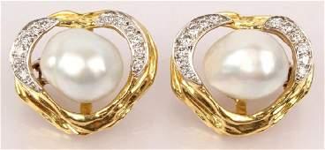 18K YELLOW BORIS LEBEAU DIAMOND  PEARL EARRINGS