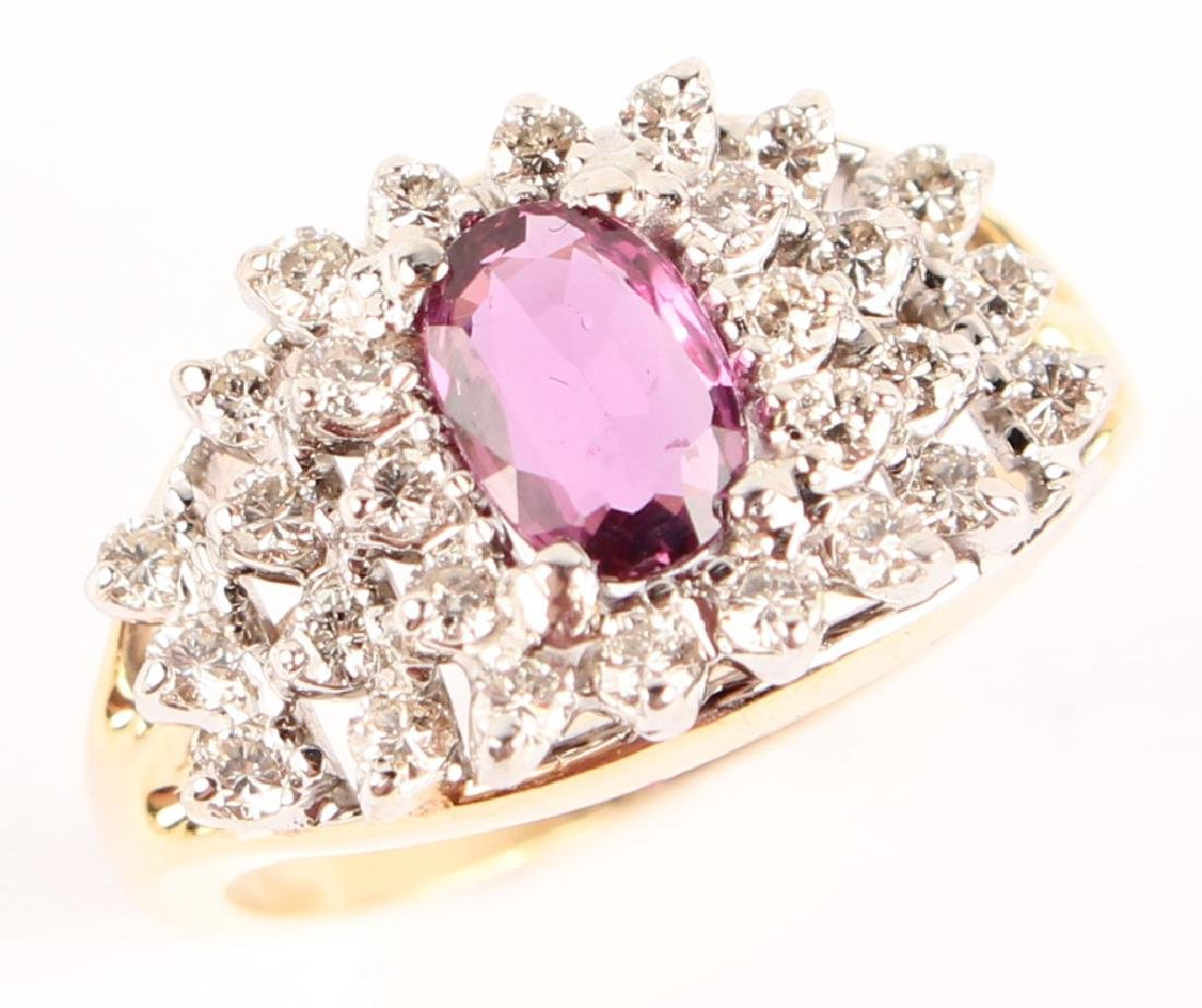 14KT YELLOW GOLD DIAMOND RUBY COCKTAIL RING