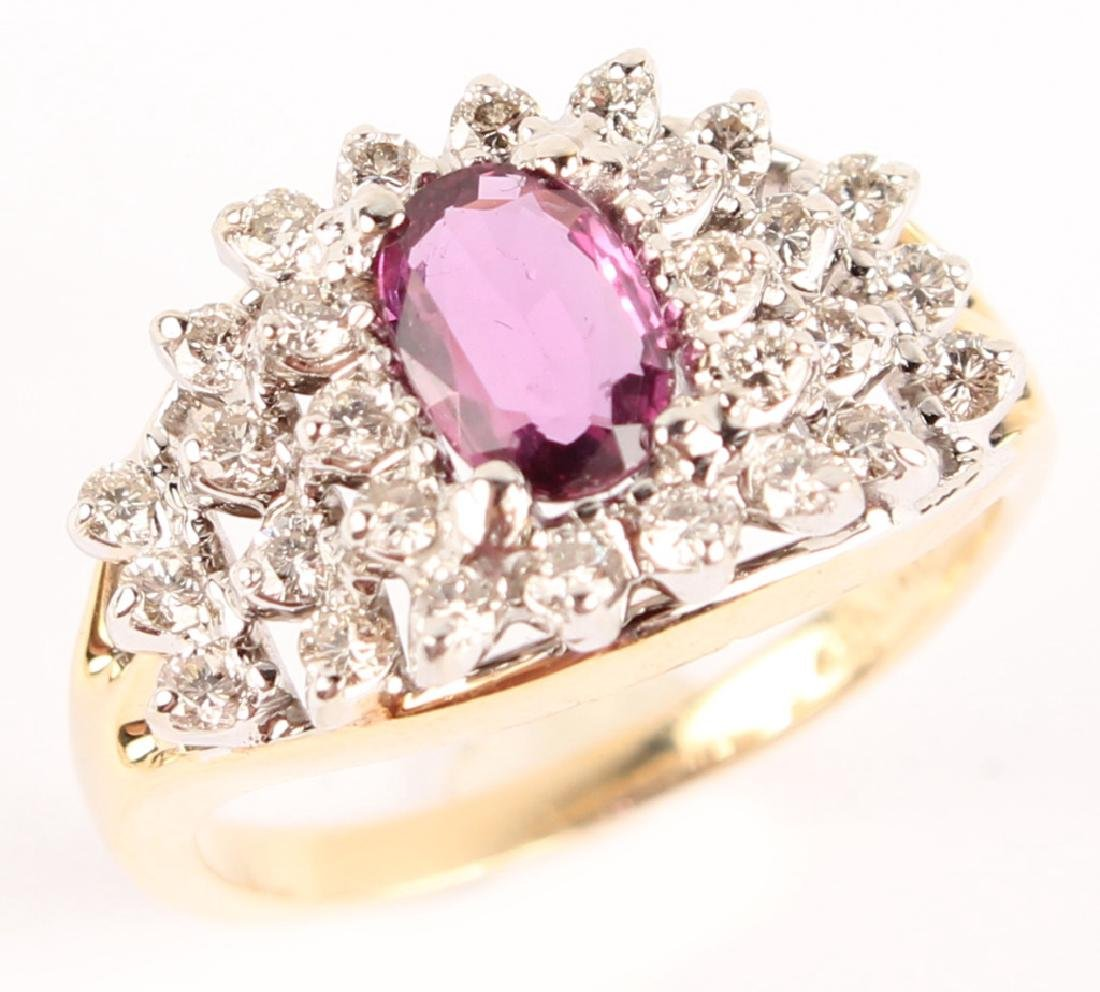 14KT YELLOW GOLD DIAMOND RUBY COCKTAIL RING - 2