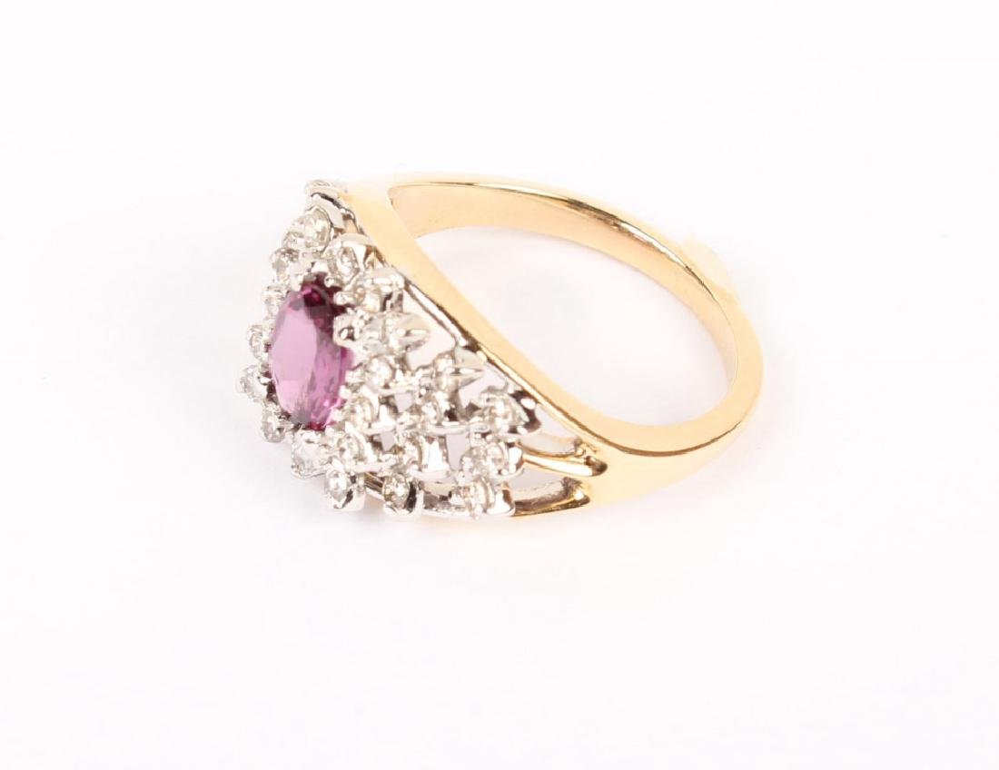 14KT YELLOW GOLD DIAMOND RUBY COCKTAIL RING - 3
