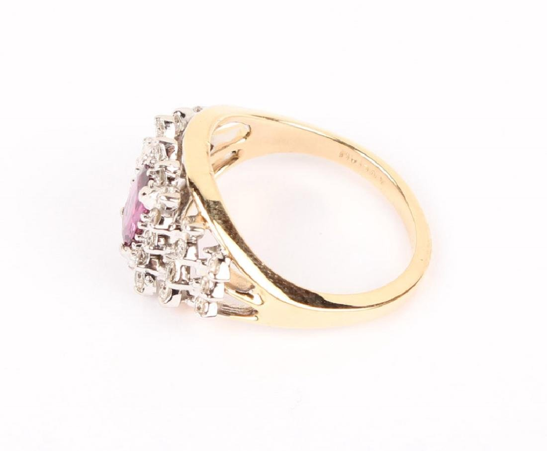14KT YELLOW GOLD DIAMOND RUBY COCKTAIL RING - 4