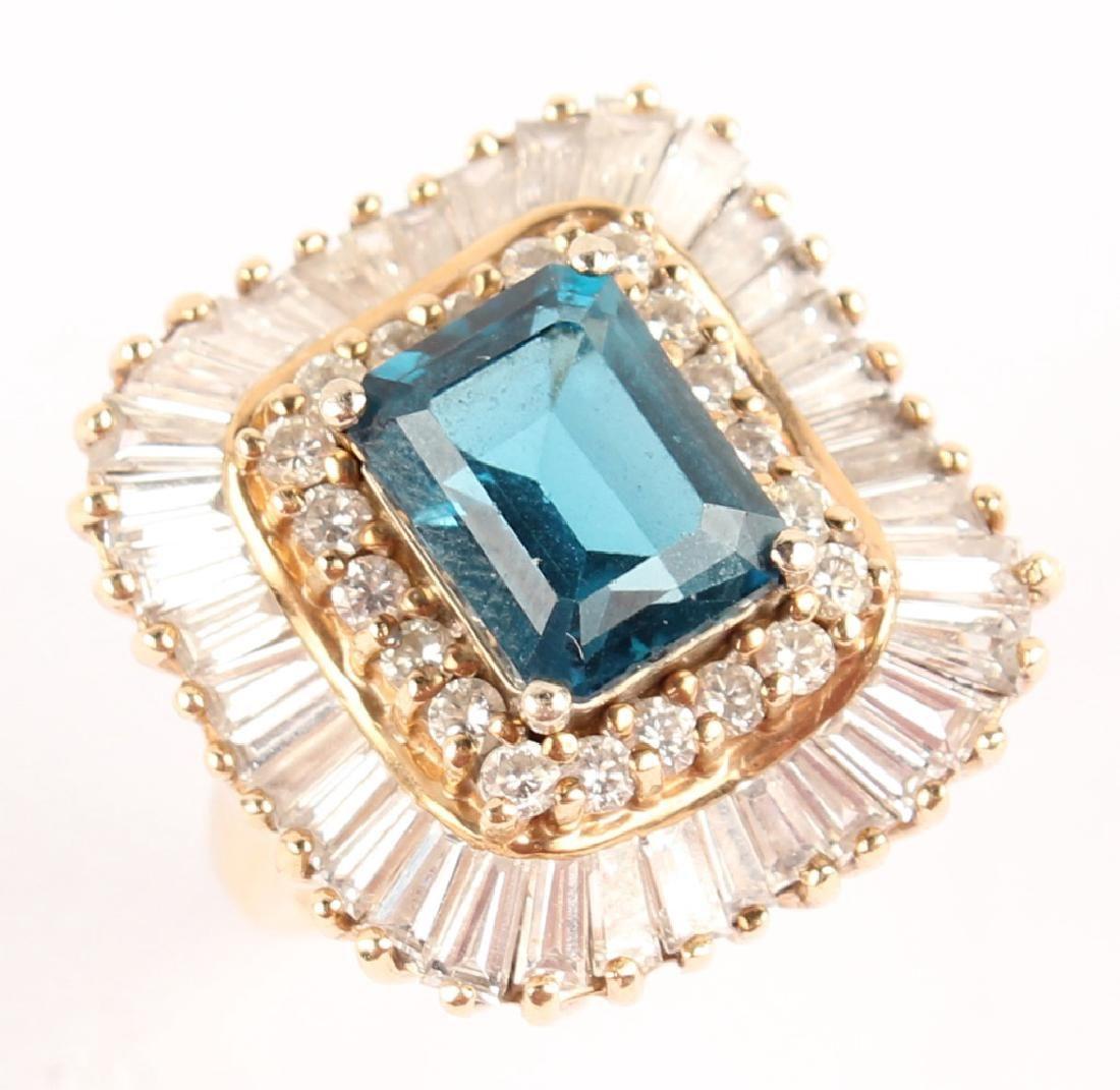 14KT YELLOW GOLD DIAMOND BLUE TOPAZ BALLERINA RING