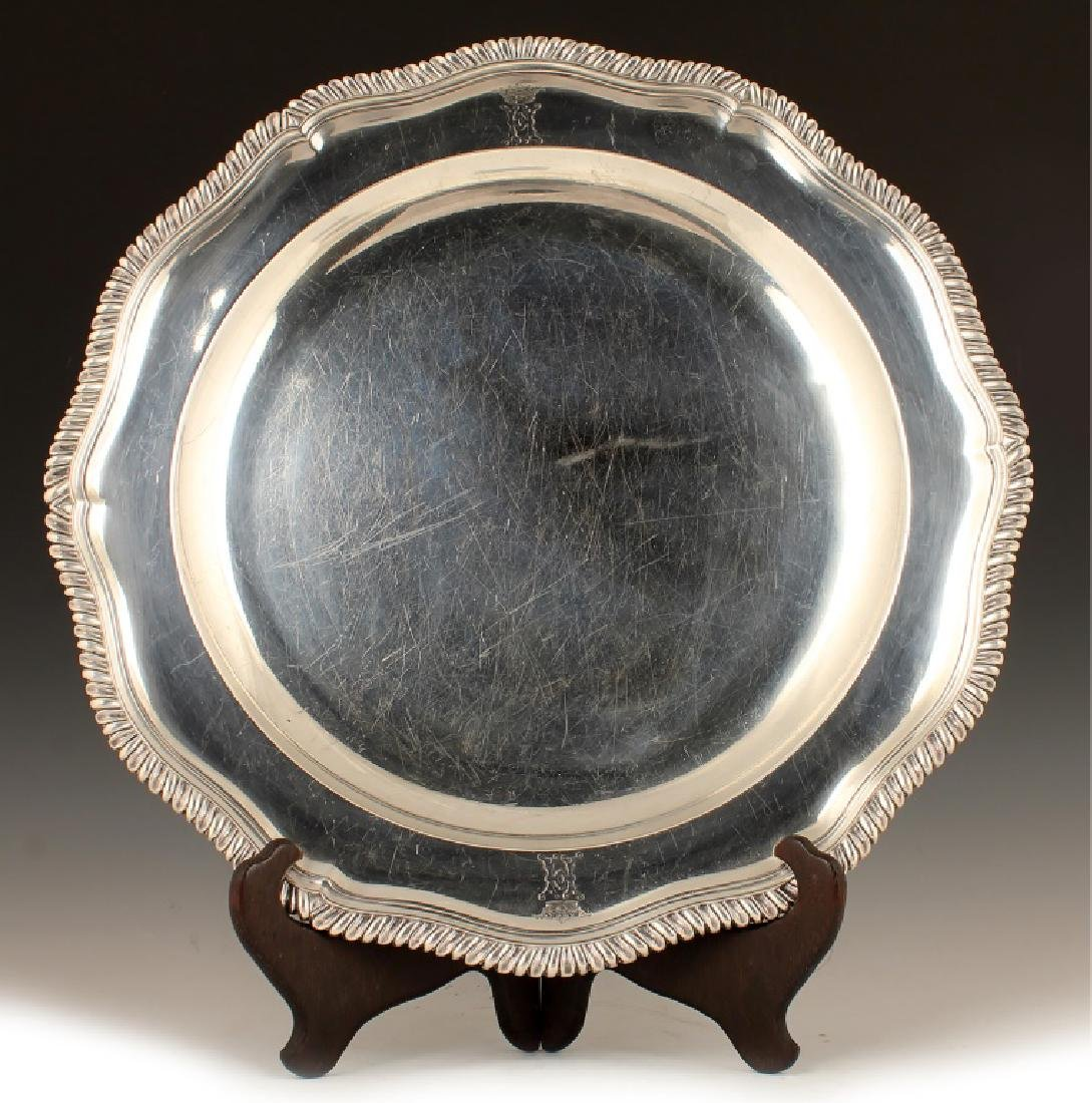 18TH C. JOHN JACOB STERLING SILVER SERVING TRAY