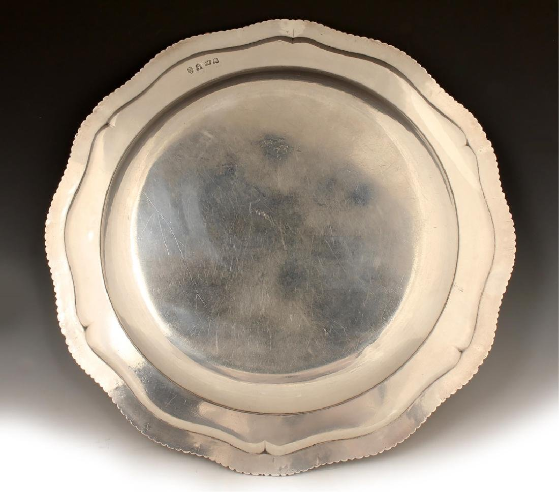 18TH C. JOHN JACOB STERLING SILVER SERVING TRAY - 2
