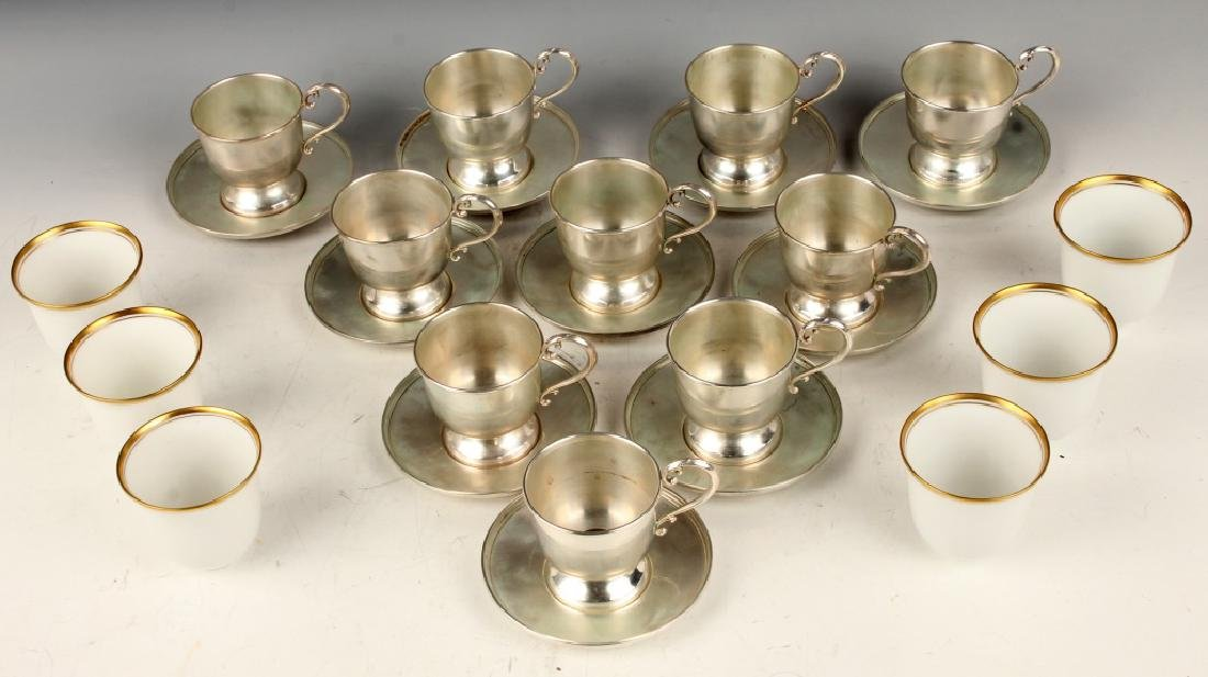10 STERLING SILVER FISHER TEA CUP & SAUCER SETS