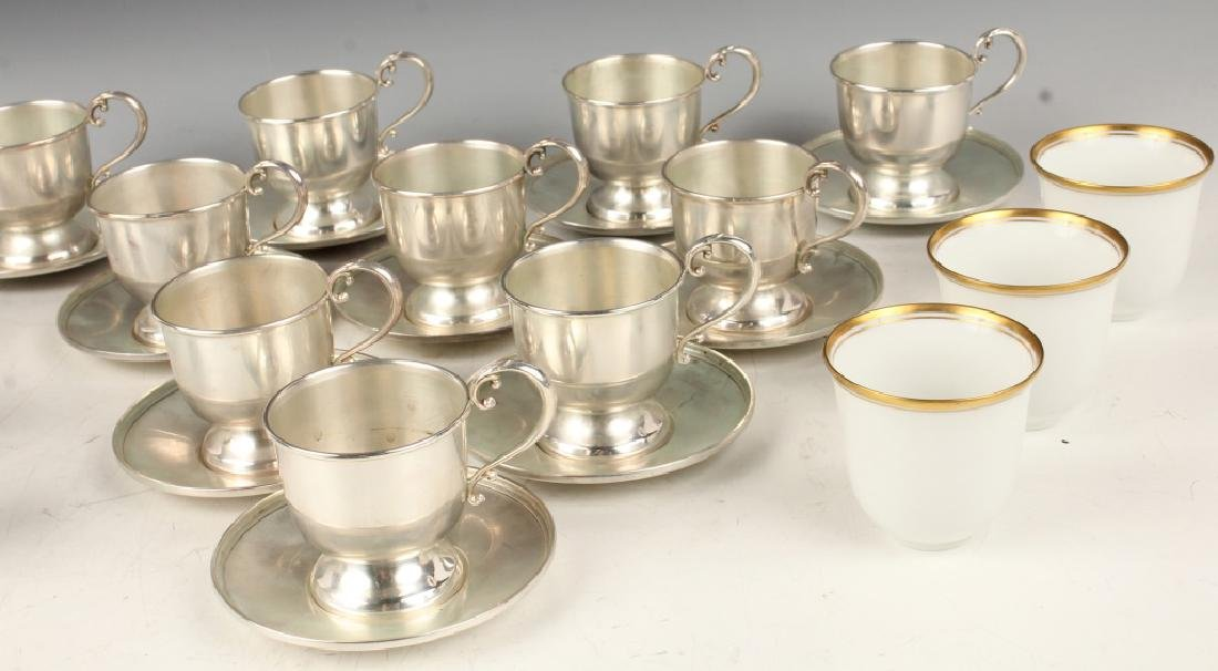 10 STERLING SILVER FISHER TEA CUP & SAUCER SETS - 2