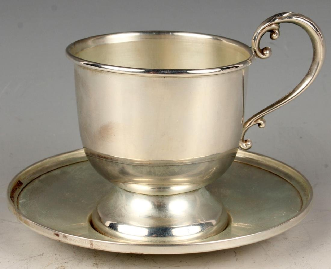 10 STERLING SILVER FISHER TEA CUP & SAUCER SETS - 5