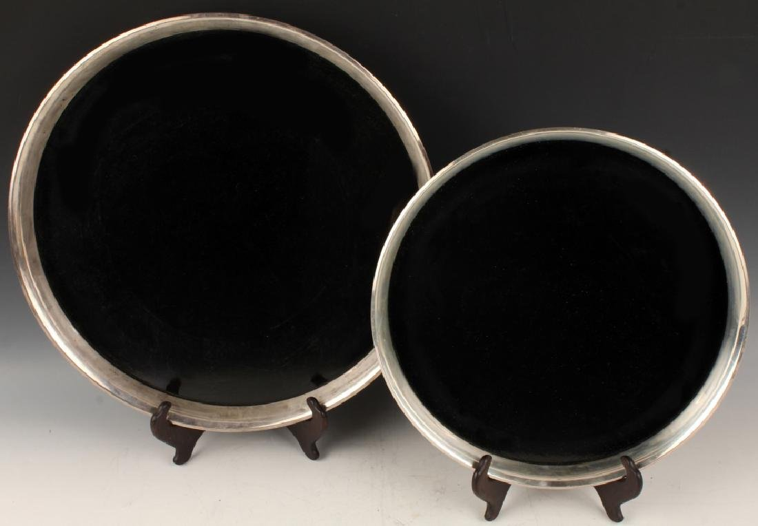 GORHAM STERLING SILVER RIMMED TRAYS
