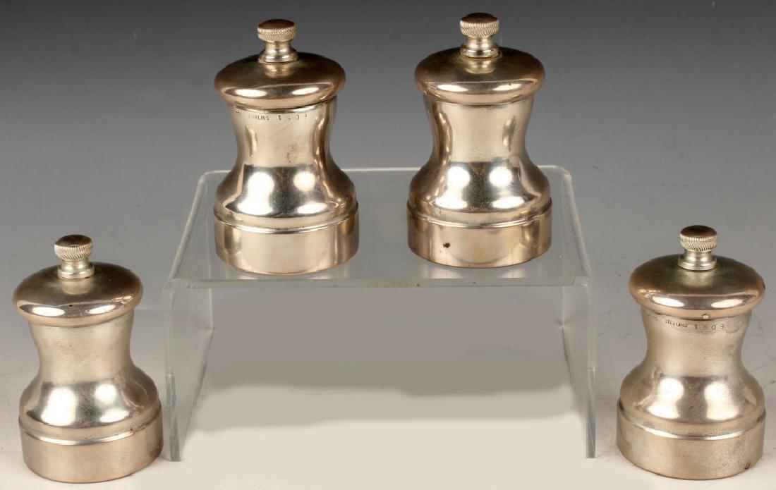4 TIFFANY STERLING SILVER SALT & PEPPER SHAKERS