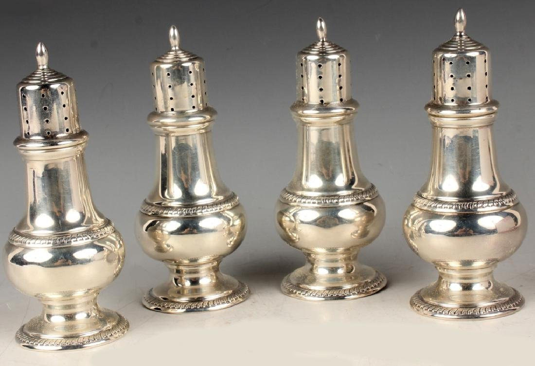 4 HUNT STERLING SILVER SALT & PEPPER SHAKERS