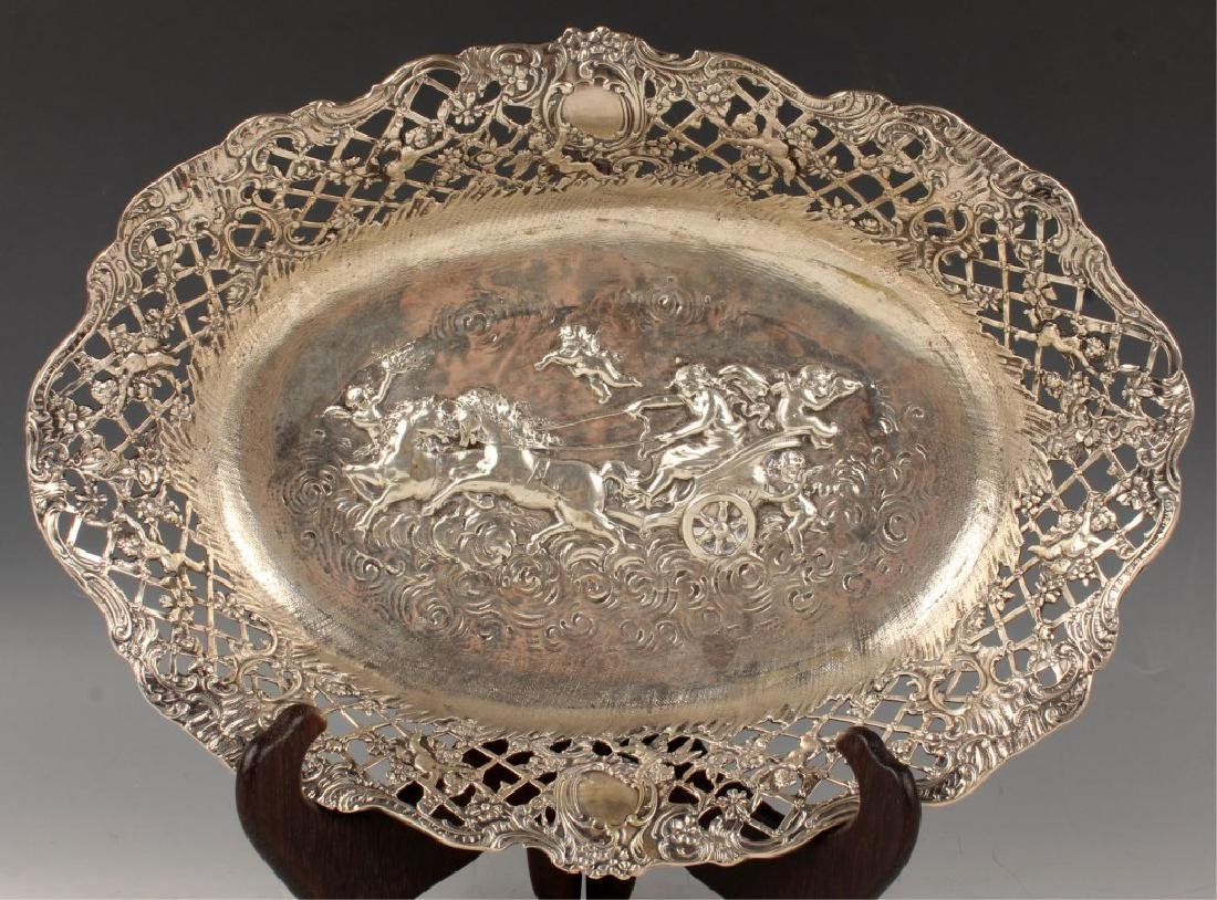 EARLY STERLING SILVER RETICULATED CHERUB BASKET