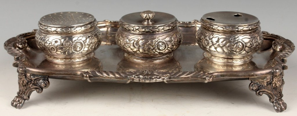 18TH CENTURY STERLING SILVER ENGLISH INKWELL STAND