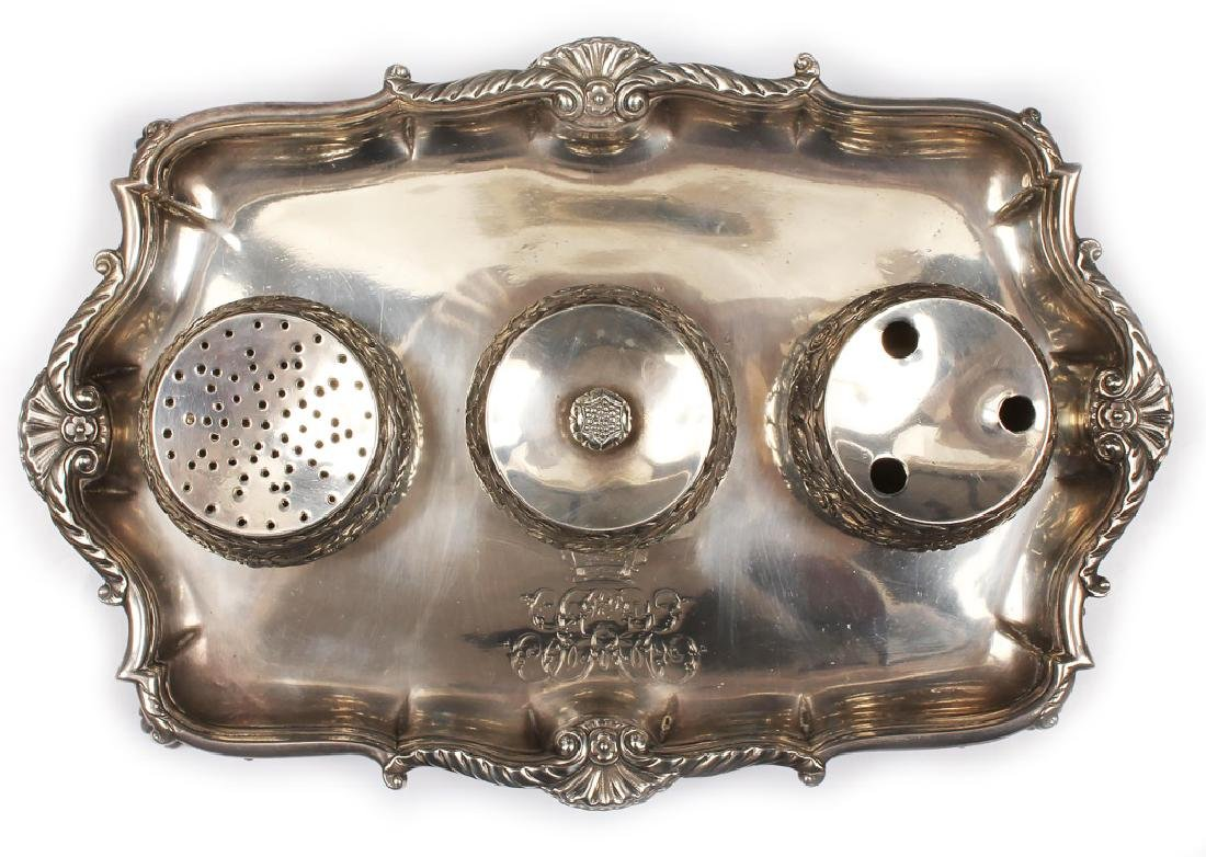 18TH CENTURY STERLING SILVER ENGLISH INKWELL STAND - 2