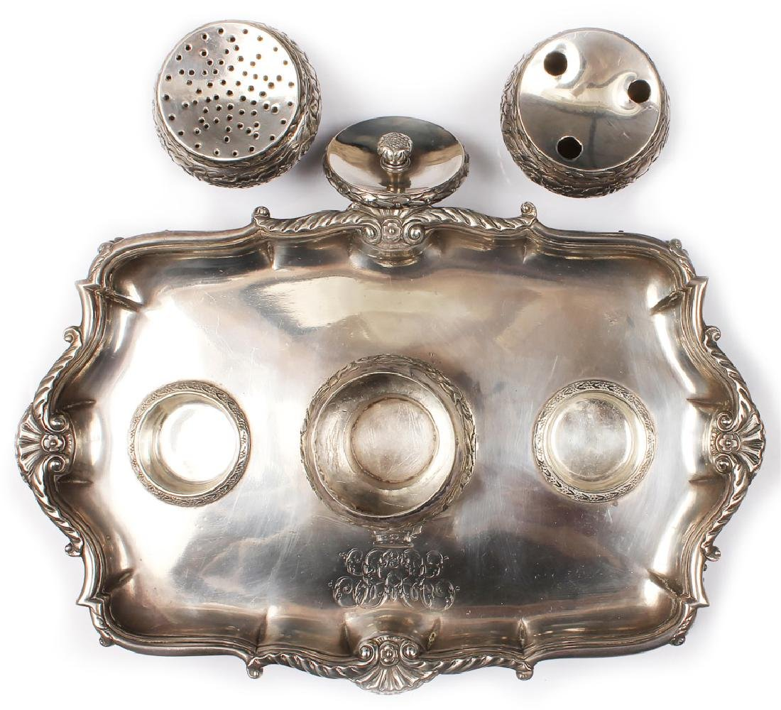 18TH CENTURY STERLING SILVER ENGLISH INKWELL STAND - 3