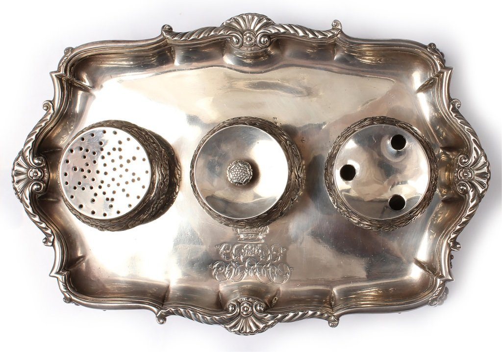 18TH CENTURY STERLING SILVER ENGLISH INKWELL STAND - 5