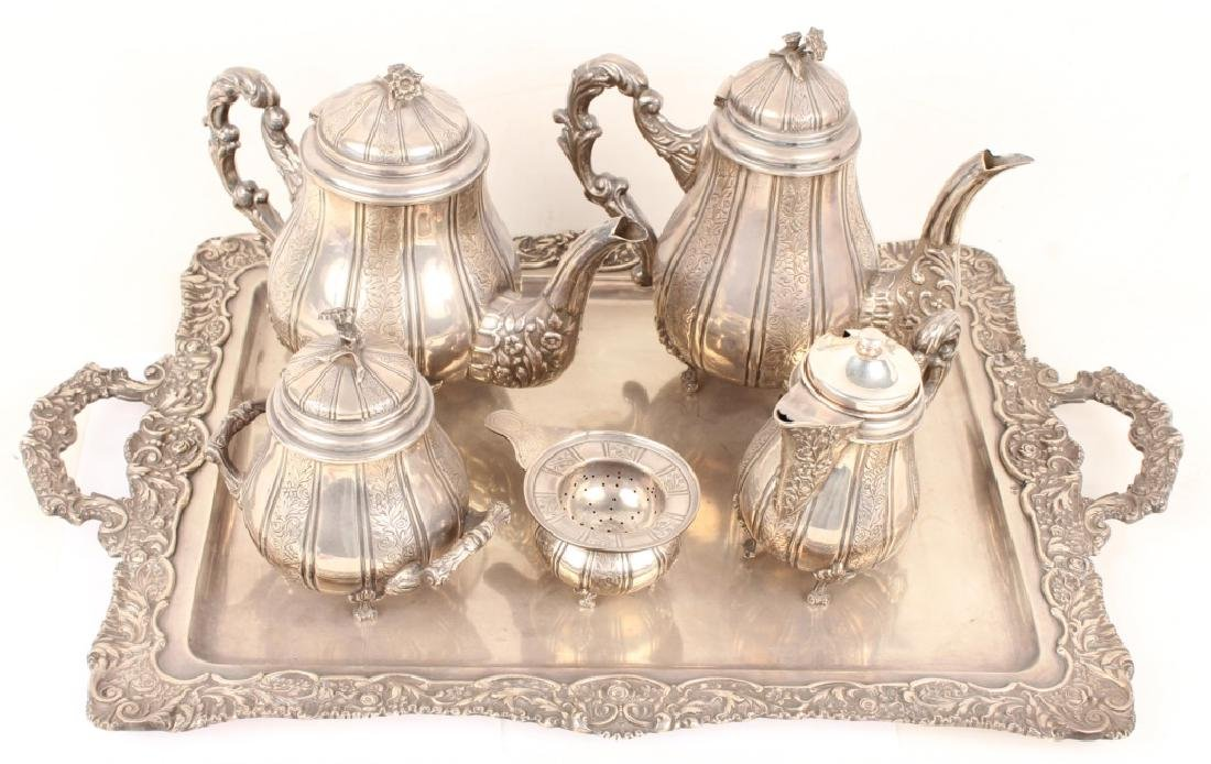 6 PIECE STERLING SILVER TEA SERVICE WITH TRAY