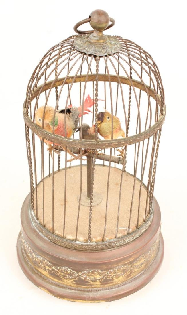 20TH C. BRASS AUTOMATON SINGING BIRD CAGE