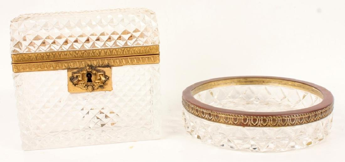 FRENCH ANTIQUE CUT CRYSTAL CASKET AND JEWELRY TRAY