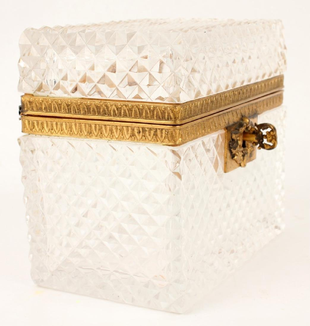 FRENCH ANTIQUE CUT CRYSTAL CASKET AND JEWELRY TRAY - 2