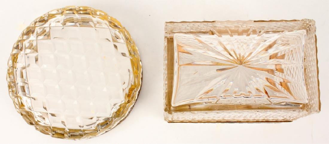 FRENCH ANTIQUE CUT CRYSTAL CASKET AND JEWELRY TRAY - 3