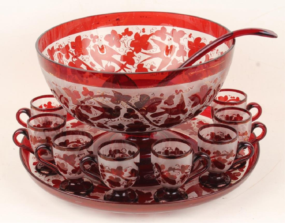 ETCHED CRANBERRY GLASS PUNCH BOWL & CUPS SET
